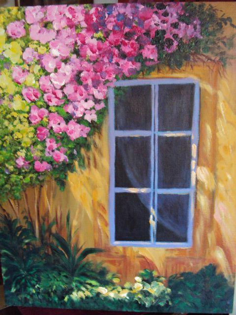 Ventana Con Flores En Acrilico Pintura Acrilica Cuadros Ventanas Pinturas