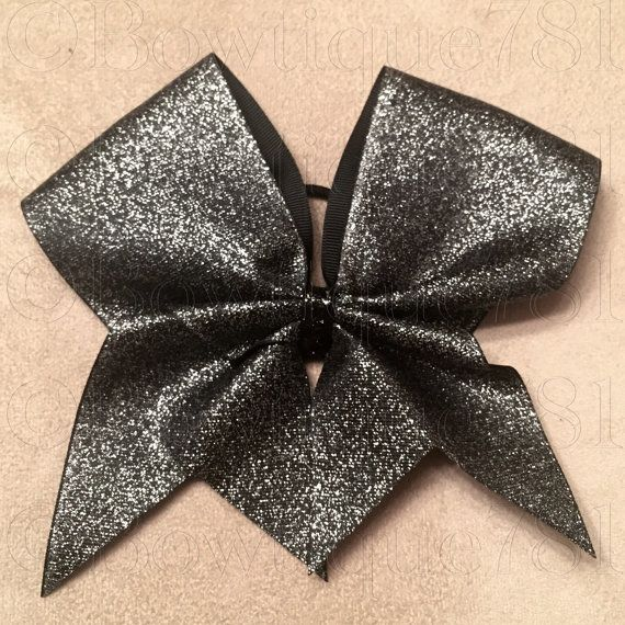 Black Glitter Ribbon Cheer Bow cheer gift by Bowtique781 on Etsy