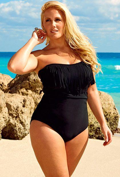 8ee9979a24544 Swim Sexy Black Plus Size Fringe Bandeau Halter Swimsuit