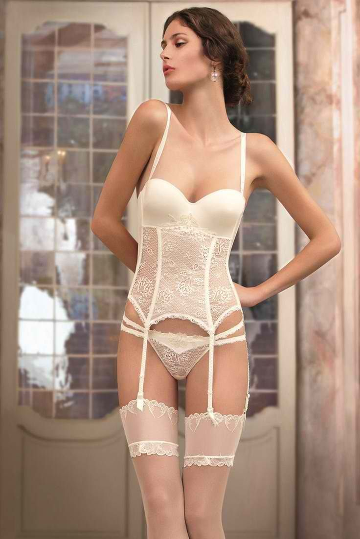 Sexy Bridal  Lingerie by Lise Charmel - Molded Cup Corset Garter Belt   Sheer  Lace String Thong 7cc3c93c6