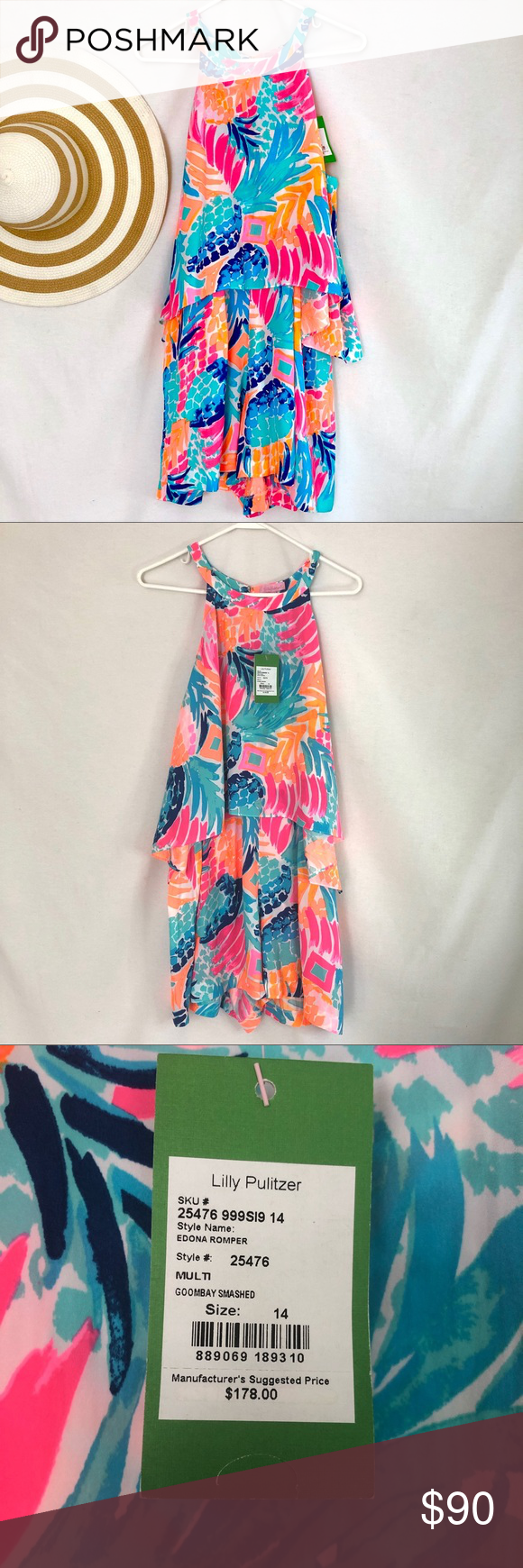 1b80a73d5165 🌴Lilly Pulitzer Edona Romper in Goombay Smashed New with tags! Beautiful  romper