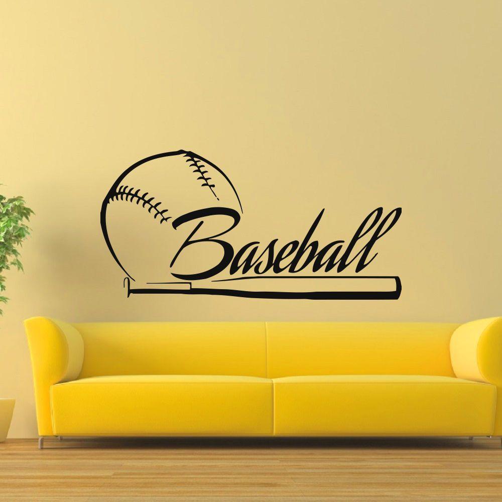 Baseball-bat Ball Wall Art Sticker Decal   Baseball   Pinterest ...