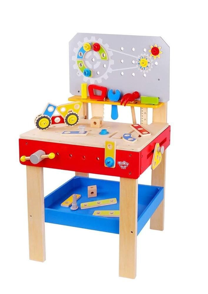 ROBUD Wooden Play Tool Workbench Set for Kids Toddlers Construction Tool Playset Toys Gift for Boys Girls