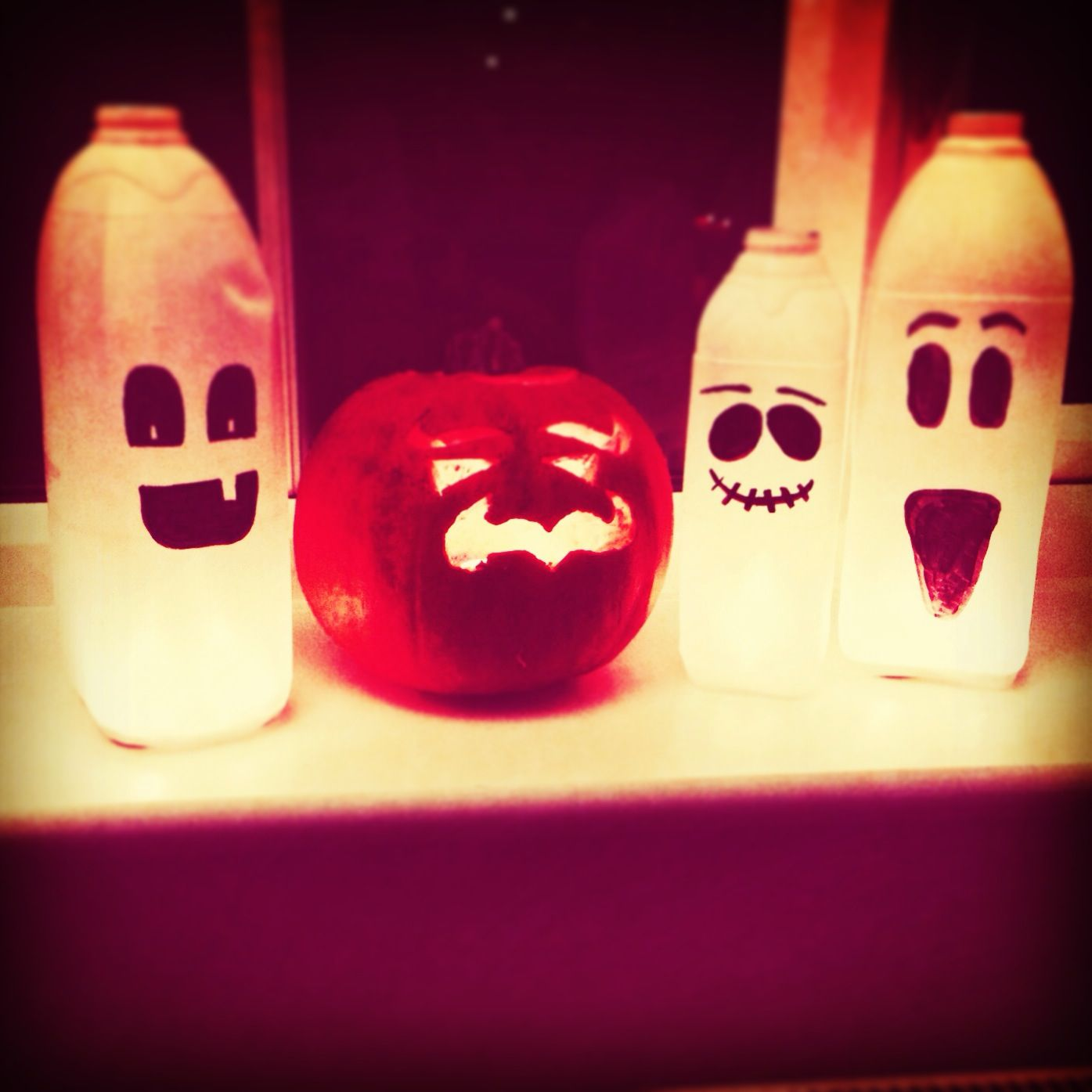 Who says Halloween decorations have to be expensive!! These milk - Window Halloween Decorations