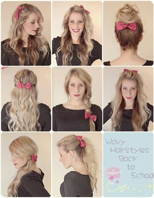 Wavy Hairstyles Back To School Or Any Occasion Bow Cute Simple