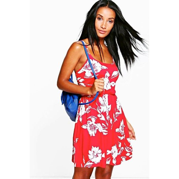 Boohoo Lola Floral Printed Skater Dress ($26) ❤ liked on Polyvore featuring dresses, red, skater dress, white evening dresses, white skater dress, red evening dresses and white bodycon dress