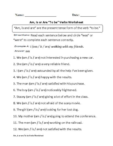 ALL KINDS OF ENGLISH/GRAMMAR WORKSHEETS! Am, Is Or Are To Be Verbs Worksheet  Part 1 Verb Worksheets, Verb, English Grammar Worksheets