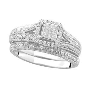 13 Carat TW Diamond Bridal Set in Sterling Silver Size 7 at