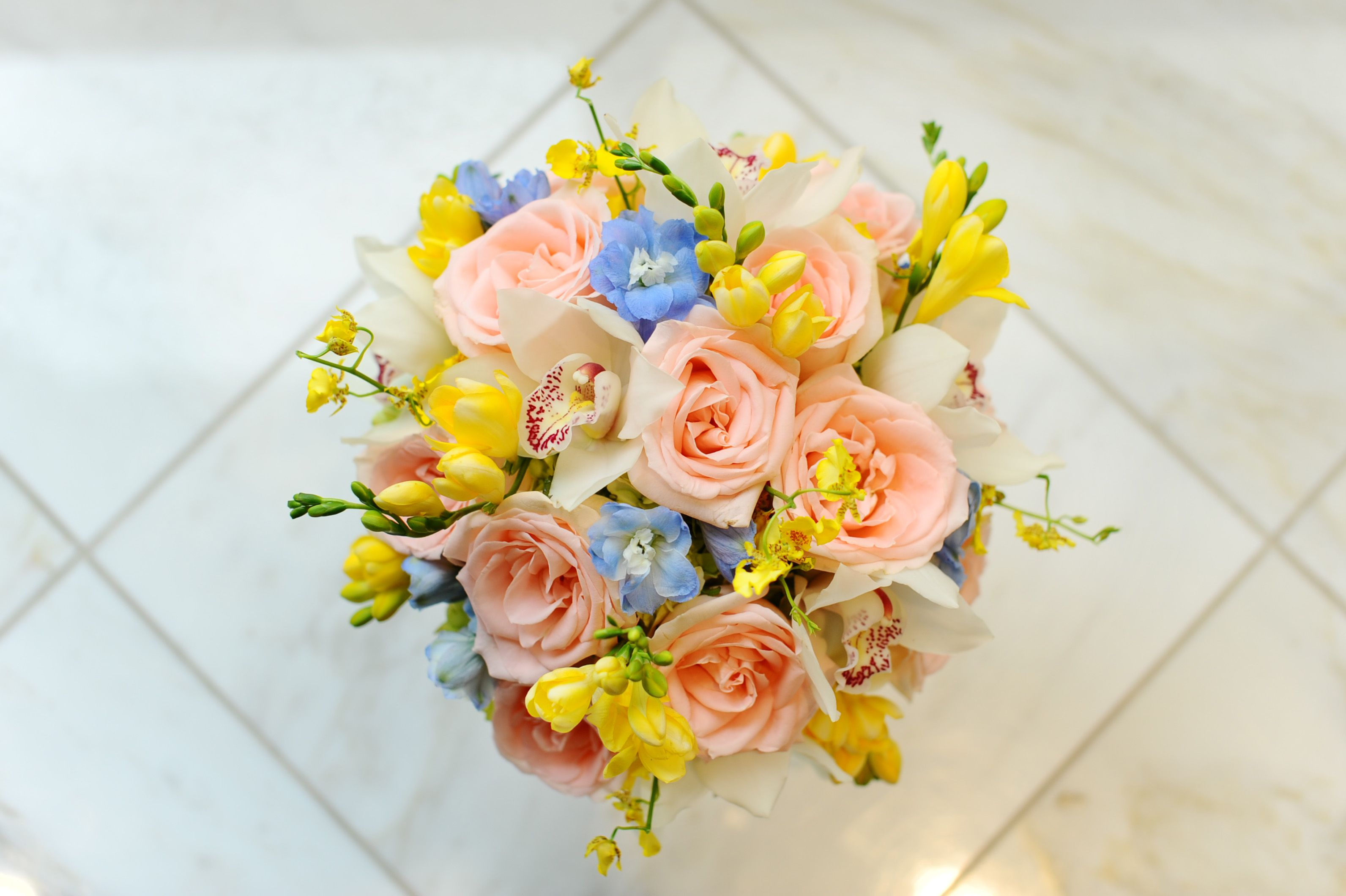 Peach Blue Yellow Wedding Bouquet New Orleans Wedding Fat Cat Flowe