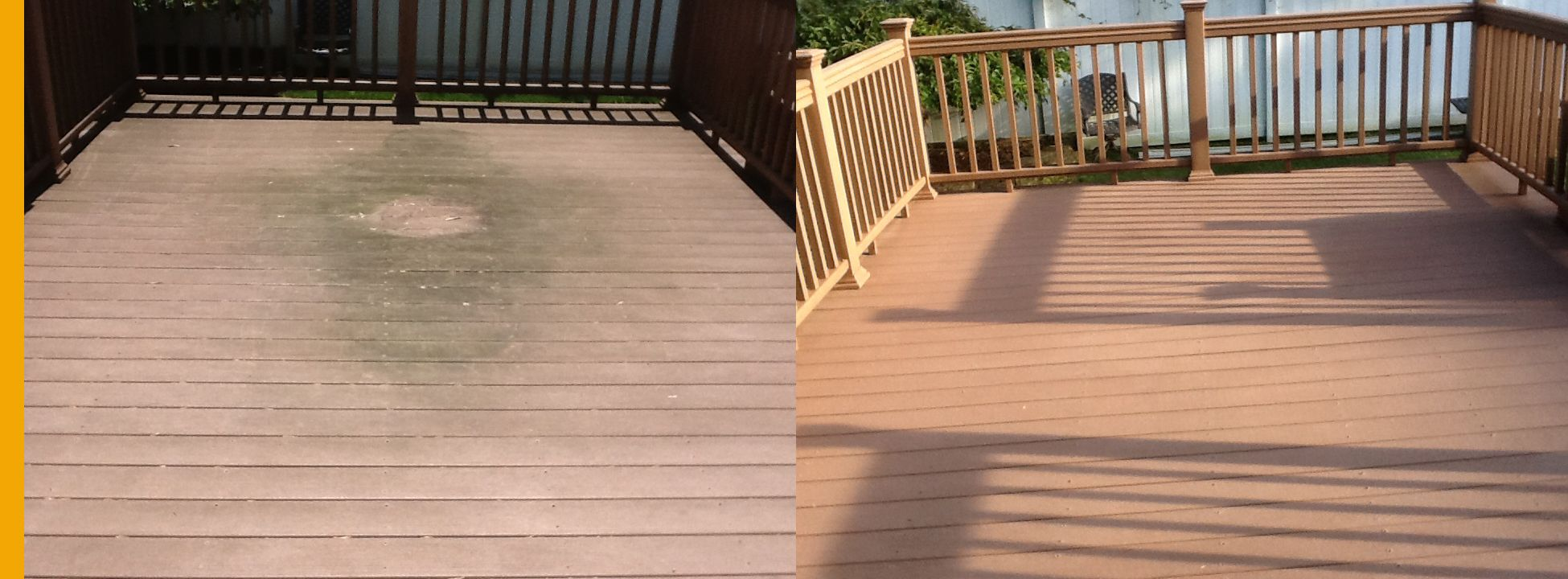 Deck cleaning before and after deck cleaning deck