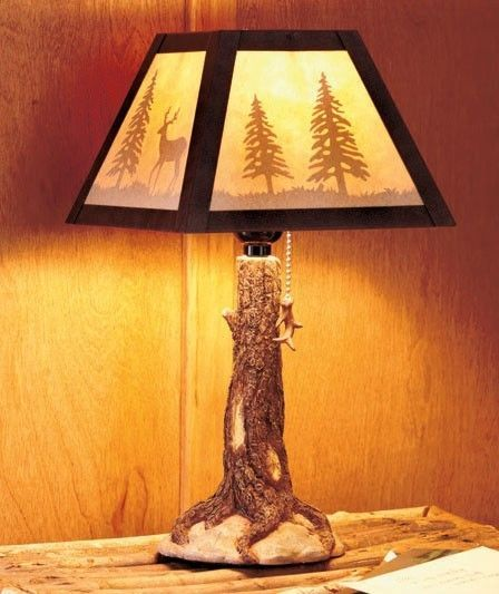 Details About Rustic Log Cabin Table Lamp W Free Shade