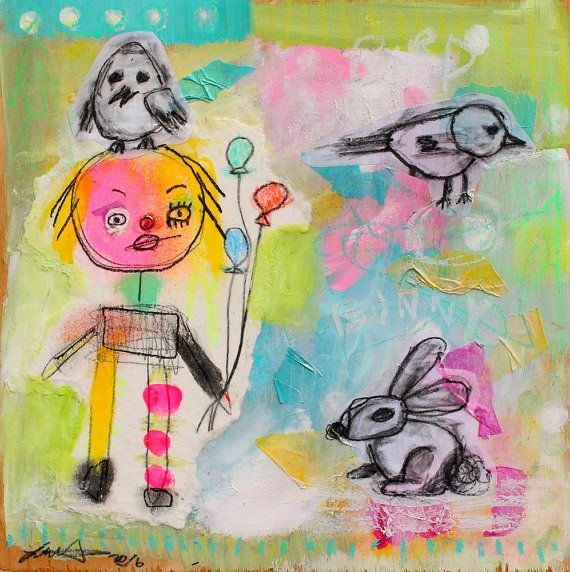 Childlike Art Original Painting Bright Color Wall By Crudeart
