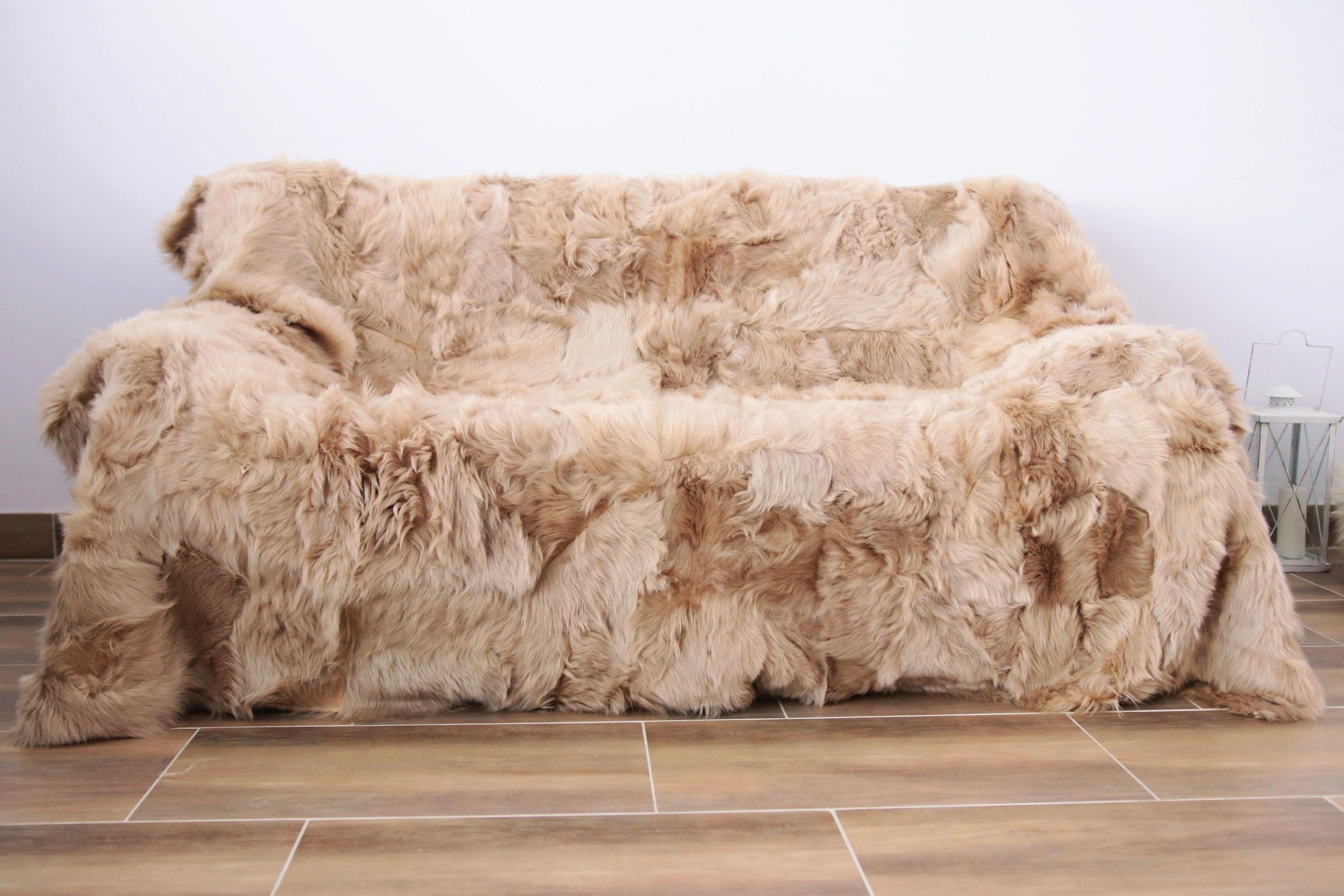 Real Sheepskin Toscana Blanket Throw Champagne Fur Sofa Throw Scandinavian Decoration Throws For Sofa Sofa Throws Throw Blanket Blanket Scandinavian Decor