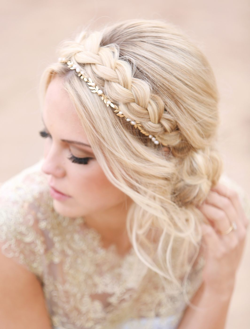 updo with headband braid. wedding hairstyle | made the cut