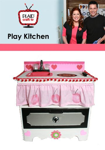 Make a play kitchen from an end table. Video how to.