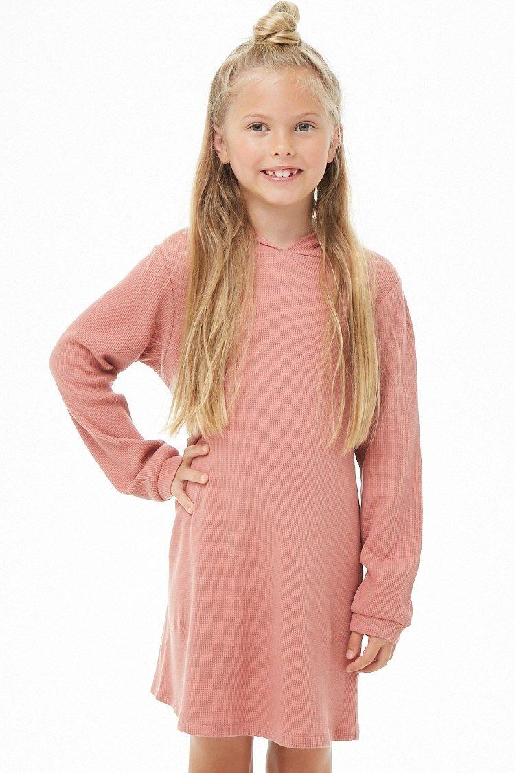 Girls Hooded Waffle Knit Dress Kids Forever 21 Knit Dress Cute Outfits For Kids Knit Mini Dress [ 1125 x 750 Pixel ]