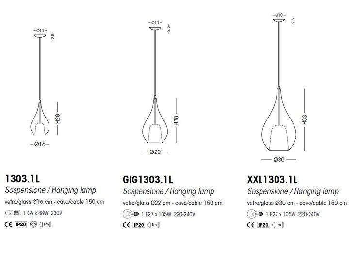Lámpara colgante de vidrio soplado con luz directa ZOE | Lámpara colgante - Cangini & Tucci