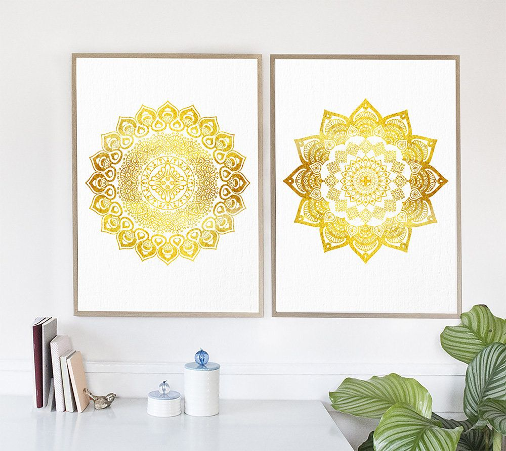 Mandala Wall Art, Set of 2 prints, Hindu Wall Decor, Golden Mandala ...