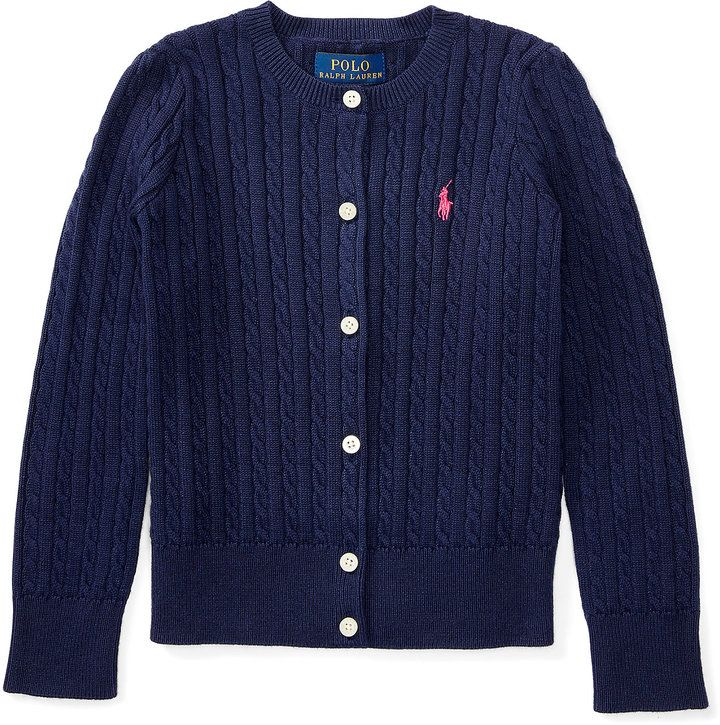 £69 - Ralph Lauren Cable-Knit Cotton Cardigan in Navy Blue with a Pink
