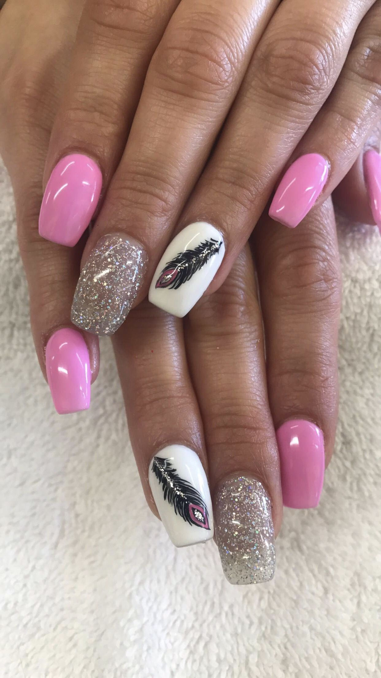 Pink Glitter White Shellac Acrylic Nails With Feather Design Nail