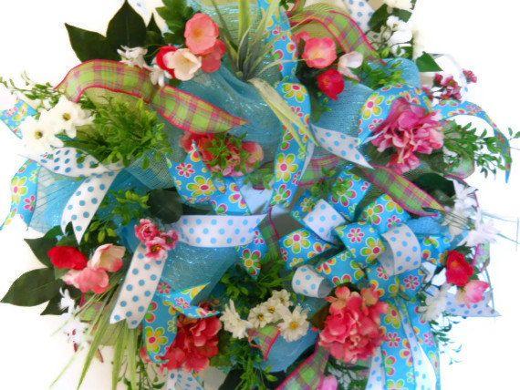 Spring Deco Mesh Wreath - Summer Deco Mesh Wreath - Hydrandeas Wreath - Front Door Wreath -. $78.00, via Etsy.
