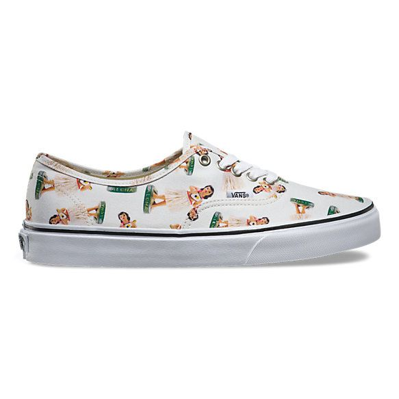 60e84e9d82 The Digi Hula Authentic combines the original and now iconic Vans low top  style with an allover hula doll print