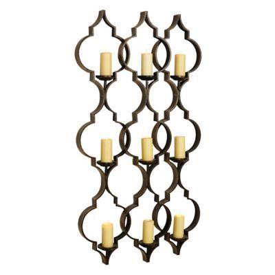 Bronze Quatrefoil 9-Pillar Candle Holder | Pillar candle ...