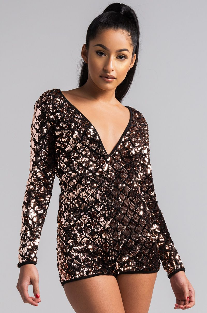 65fe9db26246 AKIRA Deep V Open Back Long Sleeve Sequin Romper in Gold