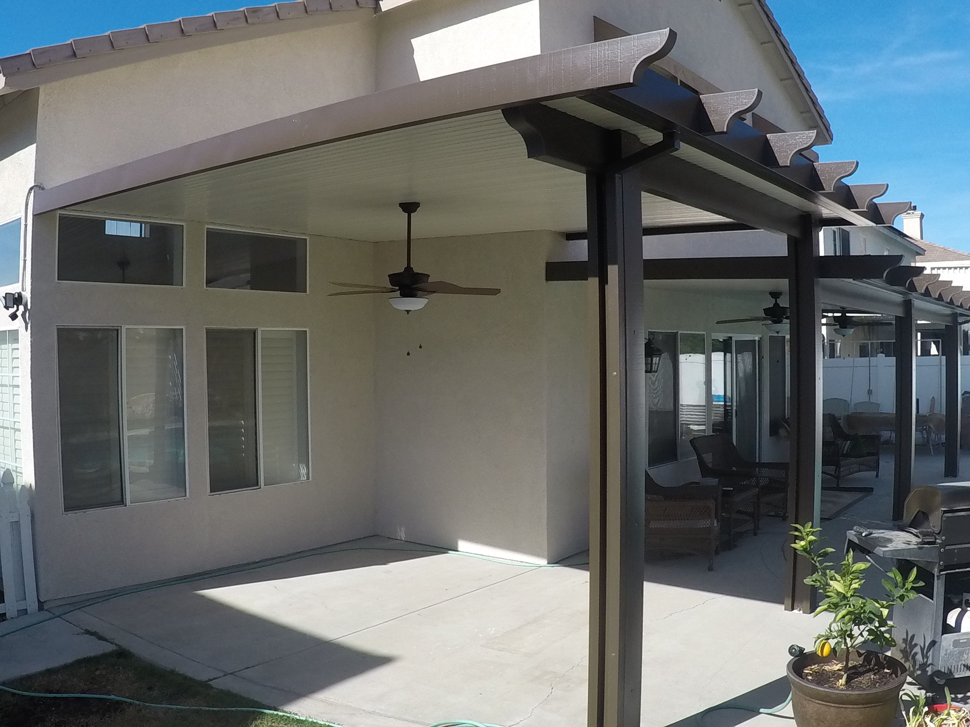 Solid Alumawood Patio Cover In Highland Ca Call 951 735 3379 To Schedule Your Free Consultation Patio Patio Awning Covered Patio