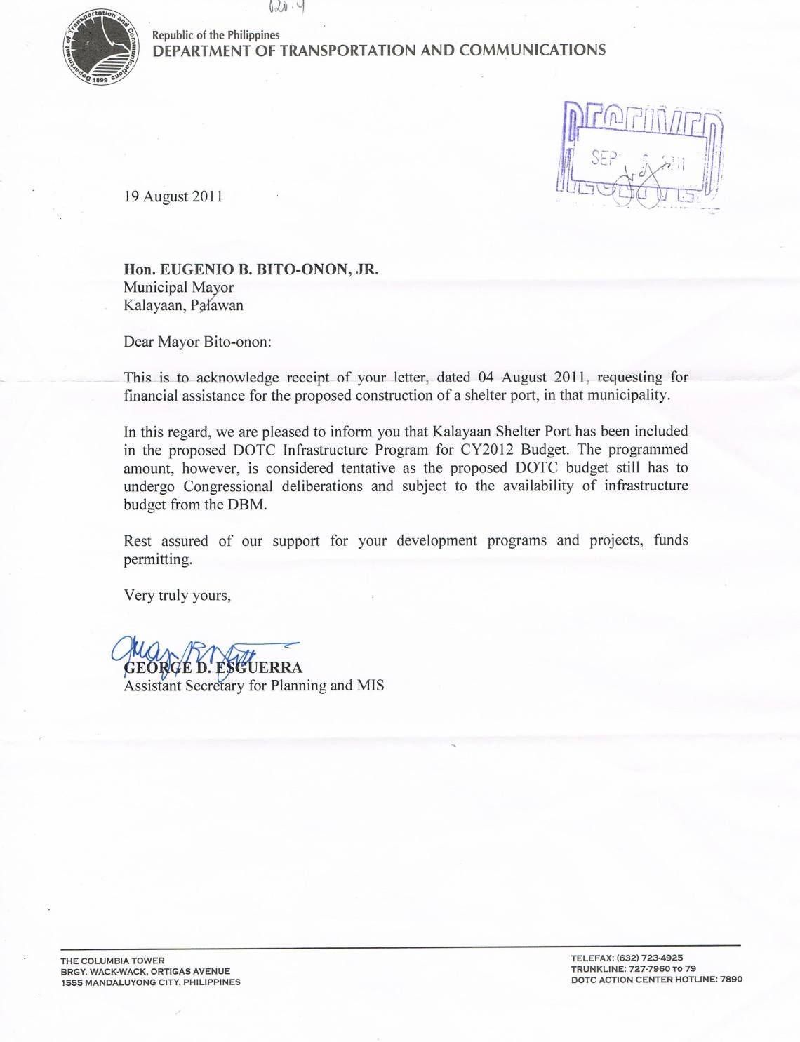 Sample Application Letter For Government Position Philippines