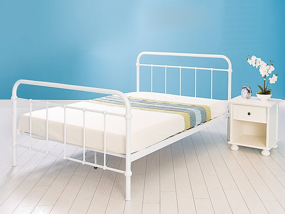 BED FRAME BED STEAD SINGLE 3 AND DOUBLE 4 6 WHITE CAST IRON FREE P+P ...