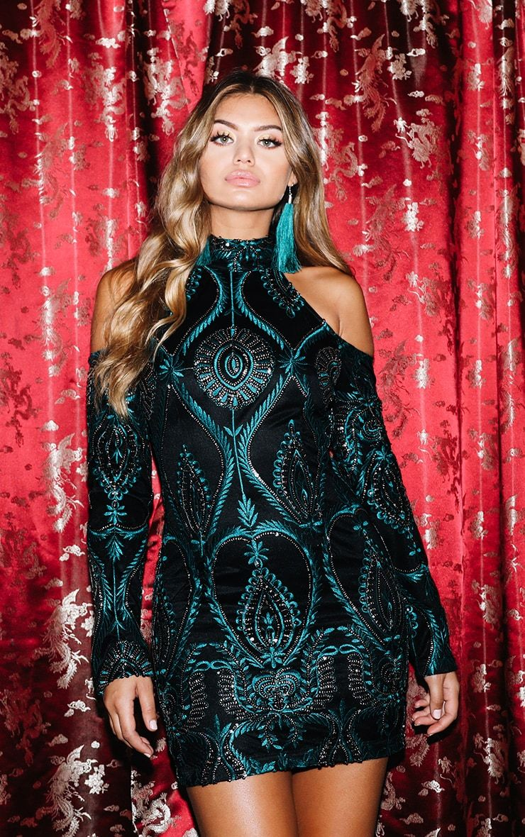 bf3b4eb62d86 Premium Emerald Green Sequin Embroidered Cold Shoulder Bodycon Dress ...