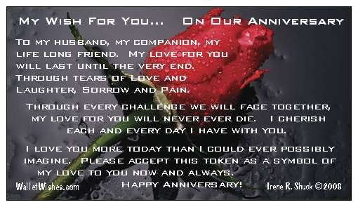 Happy anniversary to my husband i will love you forever tim yinger