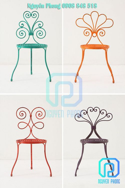 #chairsforcafe #designchairs #vintagechairs #romanticchairs #decorcoffeeshop #decorativechairs #chairsforgarden #uniquechairs #decorgarden #artisticironchairs #nguyenphongmetalarts #nguyenphongcnc #colourfulchairs #metalfurniture #furnitureforgarden
