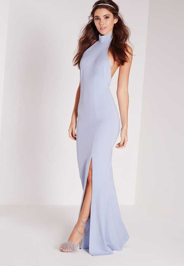 Missguided High Neck Maxi Dress Blue  85667e652
