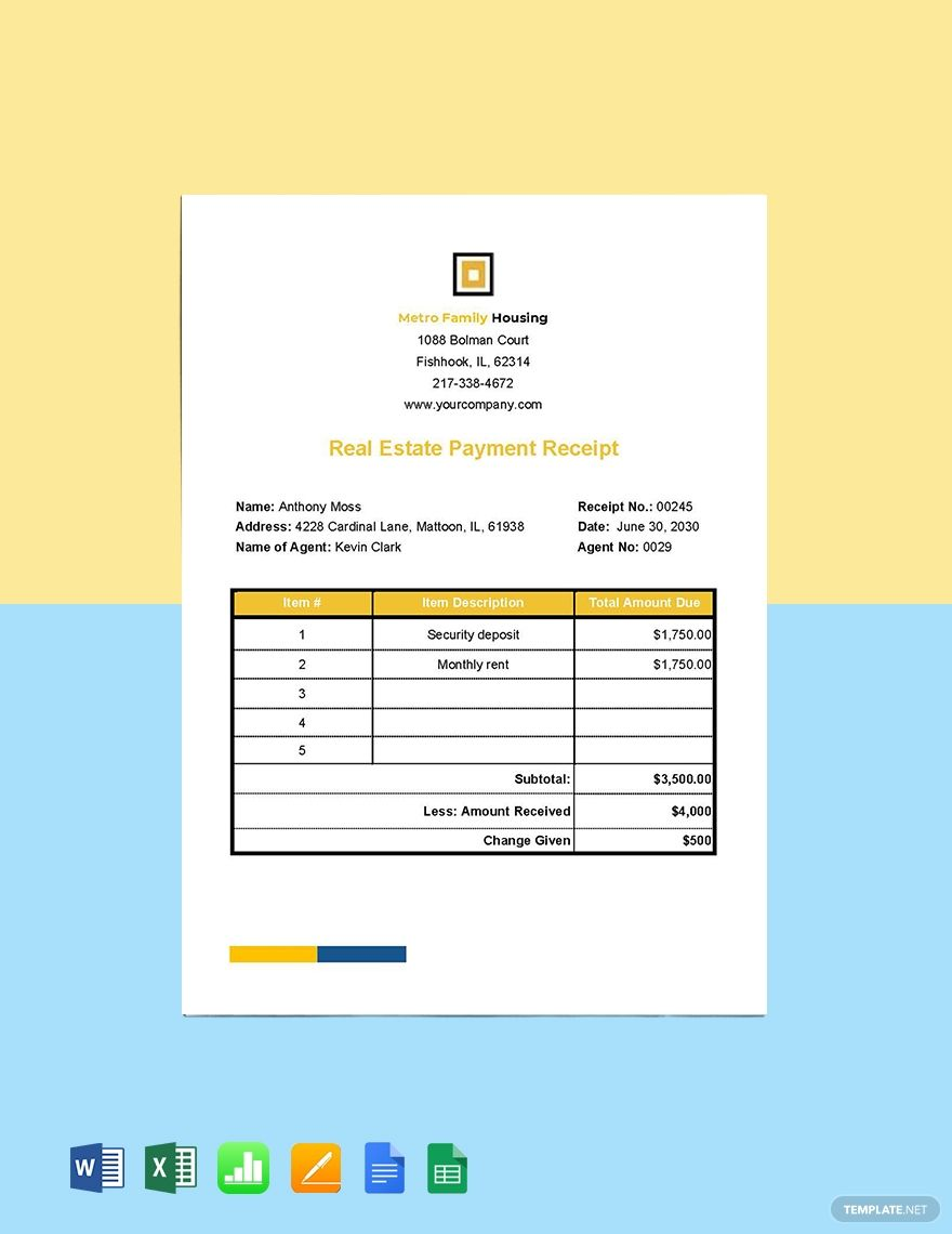 Real Estate Payment Receipt Template Free Pdf Word Excel Apple Pages Google Docs Google Sheets Apple Numbers Receipt Template Templates Words