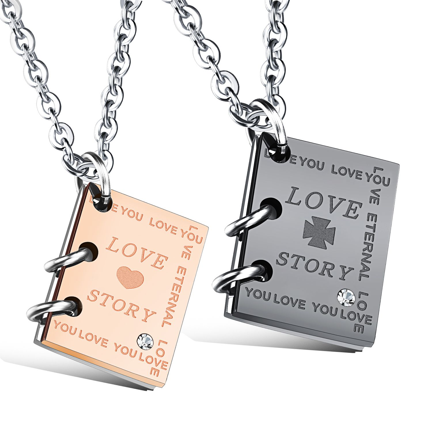 Couple pendant necklace with love letter couple jewelry
