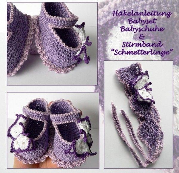 Baby-Schuhe + Stirnband häkeln / DIY Baby-Set | für mich ...