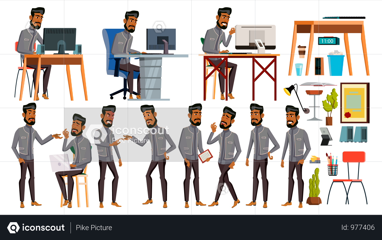 Premium Office Employee Working In Office With Working Gesture Illustration Download In Png Vector Format Man Office Business Stock Images Arab Men
