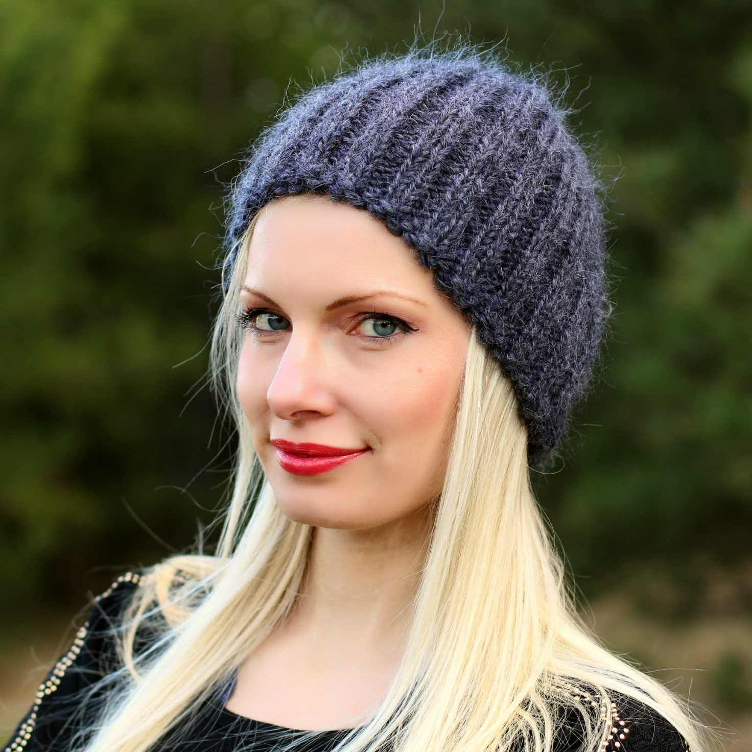 100% Hand knitted mohair hat in bluish gray graphite, one size