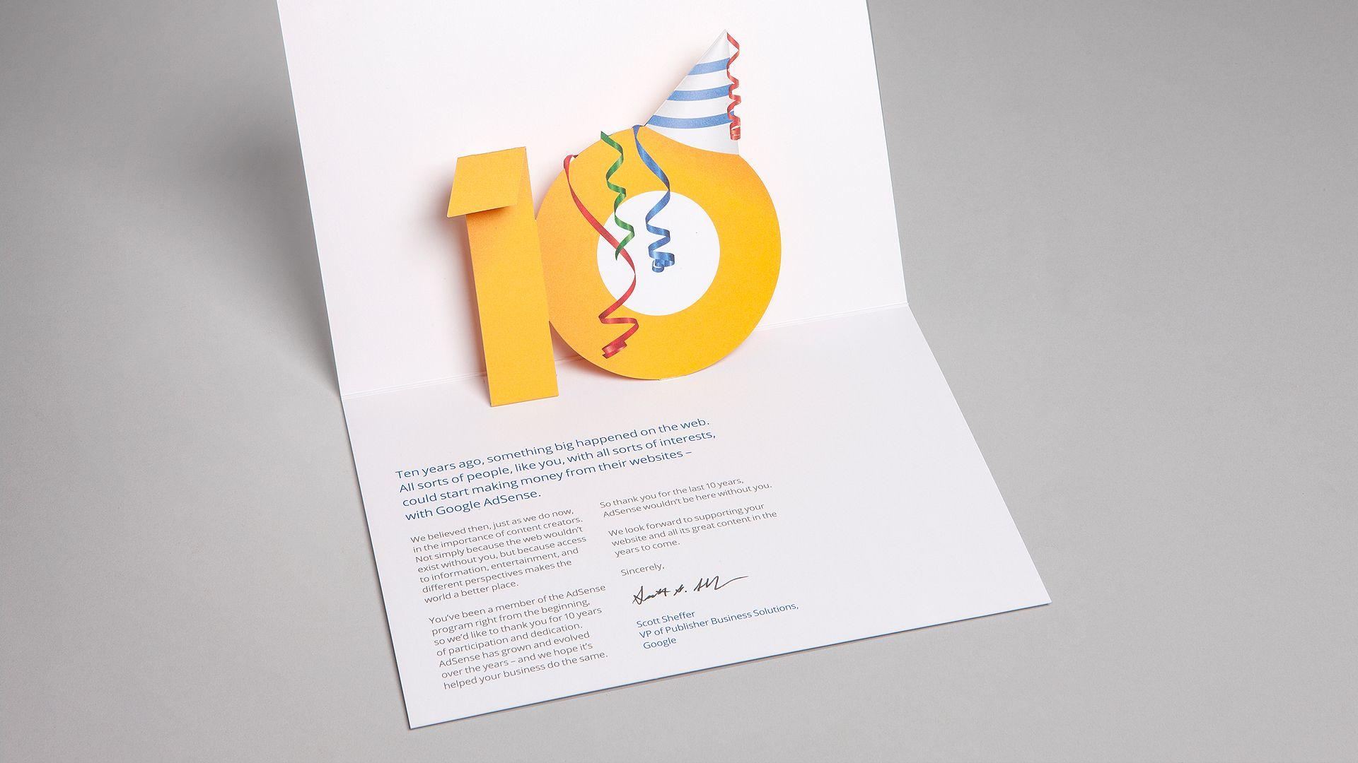 Google AdSense 10th anniversary campaign 10 anniversary
