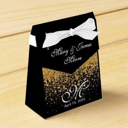 Gold Glitter Confetti on Black Favor Box