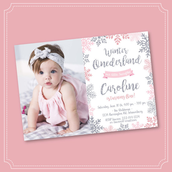 Winter Onederland Invitation Pink and Silver Birthday Winter