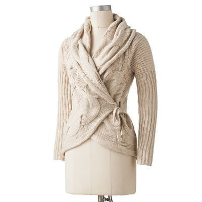 Kohls Apt. 9 Cable-Knit Wool Wrap Sweater Color Birch Heather size ...