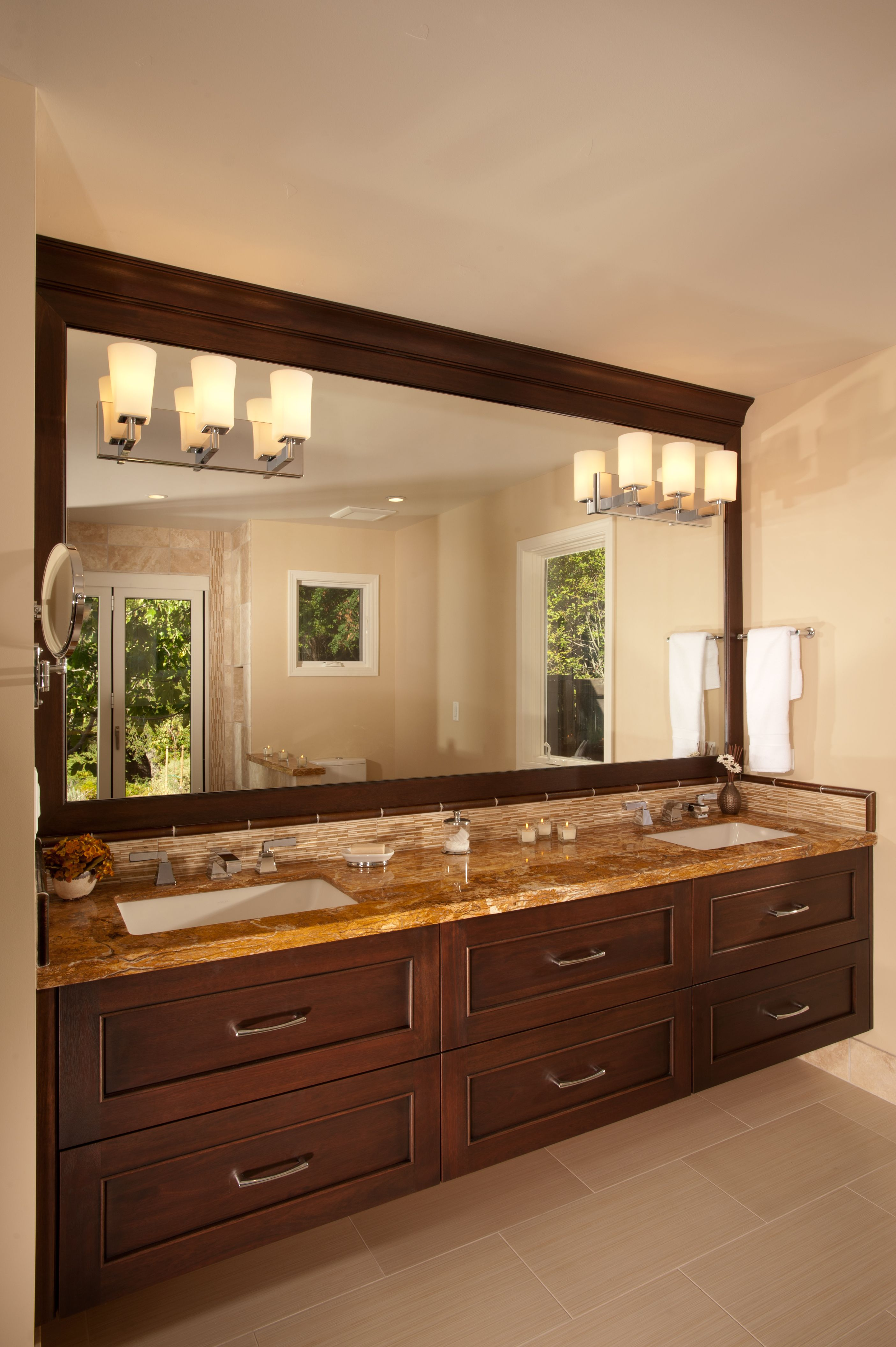 Cabinets: Dura Supreme Silverton Door Style   Lyptus Wood With Mocha With  Charcoal Glaze Finish. Custom Mirror Frame Matching Cabinets.