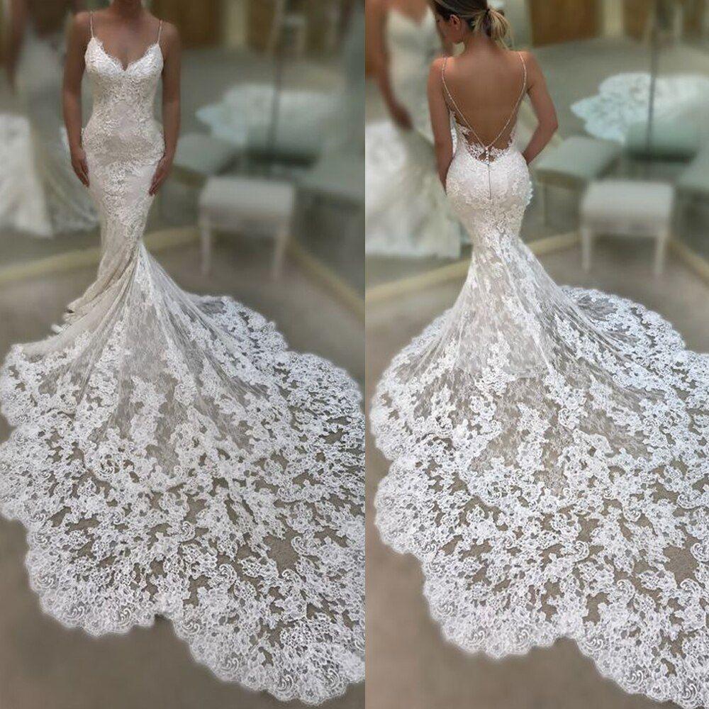 Lace Applique Mermaid Wedding Dresses 2020 Backless Elegant Lace Mermaid Wedding Dress Wedding Dresses Lace Lace Applique Wedding Dress,Beach Wedding White Maxi Dress
