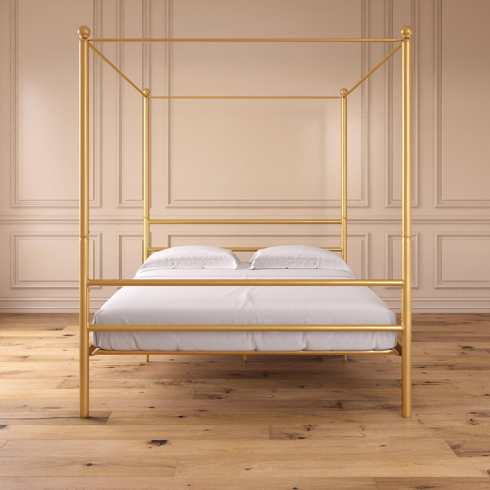Mainstays Metal Canopy Bed Gold Metal Queen Walmart Com Metal Canopy Bed Canopy Bed Frame Queen Canopy Bed