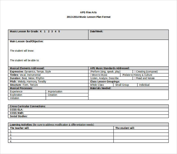 Lesson Plan Template Word template