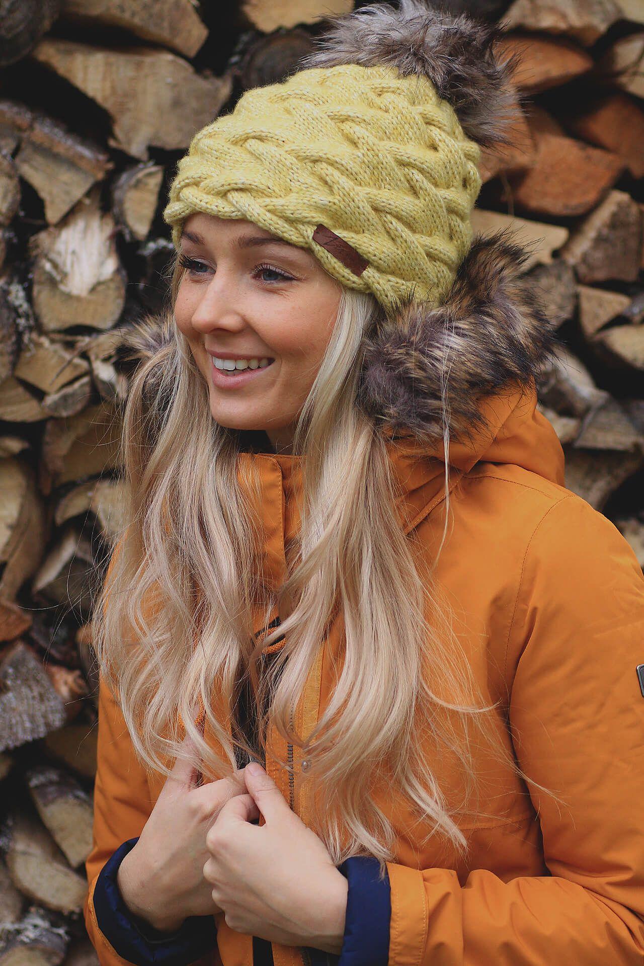 81811dfffec Hat - handmade   merino  winter  yellow  parka  jacket  hat  autumn  fall   blonde  girl  fashion  outfit  2016  2017  trendy  handknitted  handmade   wool   ...