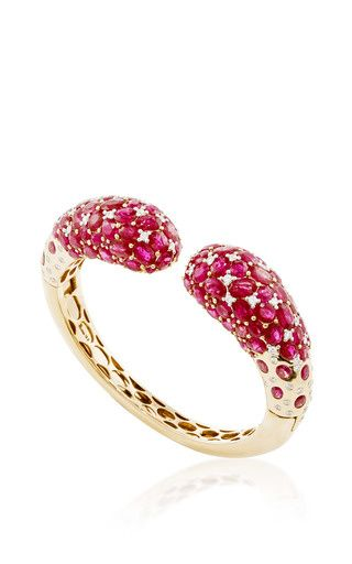 Ruby and White Diamond Bracelet in 18K Yellow and White Gold by Giovane for Preorder on Moda Operandi